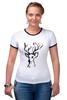 """Футболка """"Рингер"""" (Женская) """"dear deer"""" - графика, олень, deer, tseart"""