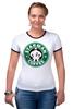 "Футболка ""Рингер"" (Женская) ""Starman Coffee "" - пародия, кофе, starbucks, старбакс, starman"