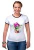 """Футболка """"Рингер"""" (Женская) """"цветы """" - арт, цветы, акварель, герань"""