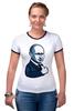 "Футболка ""Рингер"" (Женская) ""Путин - like"" - россия, путин, like, президент, putin"