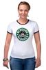 "Футболка ""Рингер"" (Женская) ""Scrooge McBucks (Starbucks)"" - пародия, coffee, старбакс, макдак, скрудж"