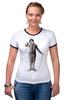 "Футболка ""Рингер"" (Женская) ""Charlie Chaplin"" - комик, charlie chaplin, чарли чаплин, актёр, чарльз спенсер чаплин"