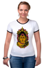 "Футболка ""Рингер"" (Женская) ""Сиддхаартха Гаутама"" - медитация, лотос, будда"