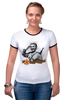 """Футболка """"Рингер"""" (Женская) """"Девушка с ружьем, отдающая честь."""" - девушка, ссср, россия, день победы, солдаты"""