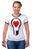 "Футболка ""Рингер"" (Женская) ""BIG LAMP! SWITCH ON YOUR LOVE!"" - сердце, любовь, lamp, zogs, switch on your love"