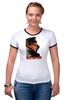 """Футболка """"Рингер"""" (Женская) """"Женская футболка с Путиным"""" - путин, putin, все путем, одежда с путиным"""