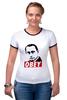 "Футболка ""Рингер"" (Женская) ""Путин Obey"" - путин, putin"