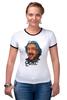 "Футболка ""Рингер"" (Женская) ""Эйнштейн"" - science, наука, einstein"