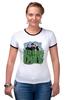 """Футболка """"Рингер"""" (Женская) """"Популярная панк-группа """"Green Day"""""""" - музыка, группа, green, панк, green day, панк-рок, зеленый день, green day общая"""