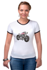 "Футболка ""Рингер"" (Женская) ""Мотоцикл"" - мотоцикл, bike"