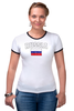"Футболка ""Рингер"" (Женская) ""Флаг - Россия "" - город, страна, россия, russia, флаг, flag"