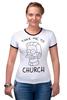 "Футболка ""Рингер"" (Женская) ""Нед Фландерс (Симпсоны)"" - симпсоны, the simpsons, take me to church, возьми меня в церковь"