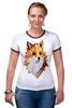 """Футболка """"Рингер"""" (Женская) """"Poly Fox"""" - fox, лиса, лисица, полигоны"""