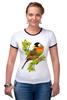 """Футболка Рингер """"Птичка на ветке"""" - оригинально, футболка женская, выделись из толпы"""