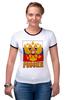 """Футболка """"Рингер"""" (Женская) """"Россия герб"""" - патриот, флаг, родина, триколор, горжусь"""