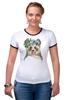 """Футболка """"Рингер"""" (Женская) """"Панда в венке"""" - цветы, панда, природа, panda, акварель"""