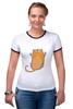 """Футболка """"Рингер"""" (Женская) """"Рыжий кот"""" - кот, cat, рыжий кот, смешной кот"""