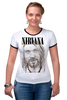 "Футболка ""Рингер"" (Женская) ""Nirvana"" - гранж, nirvana, kurt cobain, курт кобейн, нирвана"
