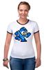 """Футболка """"Рингер"""" (Женская) """"Mega Man (8-bit)"""" - 8-бит, 8-bit, mega man"""