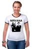 "Футболка ""Рингер"" (Женская) ""nirvana"" - grunge, гранж, nirvana, kurt cobain, курт кобейн, нирвана, альтернативный рок"