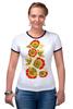 "Футболка ""Рингер"" (Женская) ""Хохлома"" - арт, цветы, хохлома"