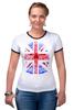 "Футболка ""Рингер"" (Женская) ""Skull Art"" - skull, череп, uk, british flag, британский флаг"
