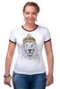 """Футболка """"Рингер"""" (Женская) """"Лев в шапке"""" - лев, lion, царь зверей"""