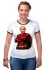 """Футболка """"Рингер"""" (Женская) """"Путин Суперчеловек"""" - путин, putin, суперчеловек"""