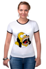 "Футболка ""Рингер"" (Женская) ""Homer Simpson"""