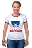 "Футболка ""Рингер"" (Женская) ""Russia team"" - русский, россия, russia, путин"