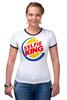 """Футболка """"Рингер"""" (Женская) """"Король Селфи (Selfie King)"""" - пародия, foto, селфи, selfie, burger king"""