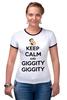 """Футболка """"Рингер"""" (Женская) """"Keep Calm and Giggity"""" - keep calm, family guy, гриффины, giggity, гленн куагмаер"""
