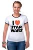 """Футболка """"Рингер"""" (Женская) """"I love Star Wars"""" - фантастика, star wars, культовый фильм, звёздные войны"""