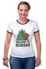 """Футболка """"Рингер"""" (Женская) """"Welcome to Russia"""" - bear, медведь, россия, welcome to russia"""