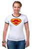 "Футболка ""Рингер"" (Женская) ""Супермен-усач-бородач"" - супермен, superman, борода, усы, бородач"