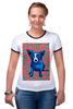 """Футболка """"Рингер"""" (Женская) """"Синий Пес"""" - сердце, dog, пес, собака, blue dog"""