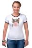 "Футболка ""Рингер"" (Женская) ""Забавная кошка"" - модно, кошки, casual, bubble gum"