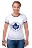 "Футболка ""Рингер"" (Женская) ""Торонто Мэйпл Лифс "" - хоккей, nhl, нхл, toronto maple leafs, торонто мэйпл лифс"