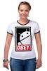 "Футболка ""Рингер"" (Женская) ""Android (Obey)"" - android, робот, obey, андроид, повинуйся"