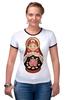 """Футболка Рингер """"Матрешка"""" - матрешка, матрёшка, russian doll, символ россии"""