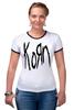 "Футболка ""Рингер"" (Женская) ""Korn (KoЯn)"" - korn, ню-метал"