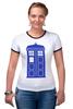 """Футболка """"Рингер"""" (Женская) """"Tardis (Тардис)"""" - сериал, doctor who, tardis, доктор кто, машина времени, телефонная будка, time machine, police box, phone box, полицейская будка"""