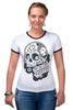 """Футболка """"Рингер"""" (Женская) """"День Мертвых в Мексике"""" - авторские майки, черепа, mexico, day of the dead, november 1st"""
