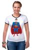 "Футболка ""Рингер"" (Женская) ""Супермен (Superman)"" - супермен, superman, супергерой, dc"