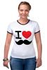 "Футболка ""Рингер"" (Женская) ""I love усы"" - swag, усы, mustache, лов, i love mustache"