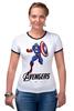 """Футболка """"Рингер"""" (Женская) """"Капитан Америка"""" - мстители, avengers, капитан америка, captain america"""