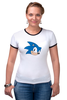 "Футболка ""Рингер"" (Женская) ""Sonic hedgehog head"" - nintendo, sonic, sega, сега, соник ёж, ёжик соник, video games"
