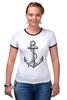 """Футболка """"Рингер"""" (Женская) """"Держись сильнее за якорь"""" - якорь, anchor, sailor, флот, гребенщиков, бг, держись сильнее за якорь"""
