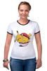 "Футболка ""Рингер"" (Женская) ""Fat Pikachu"" - pokemon, покемон, пикачу, обжорство"