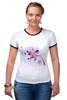 """Футболка """"Рингер"""" (Женская) """"Розовая орхидея"""" - акварель, орхидея, розовый цветы"""